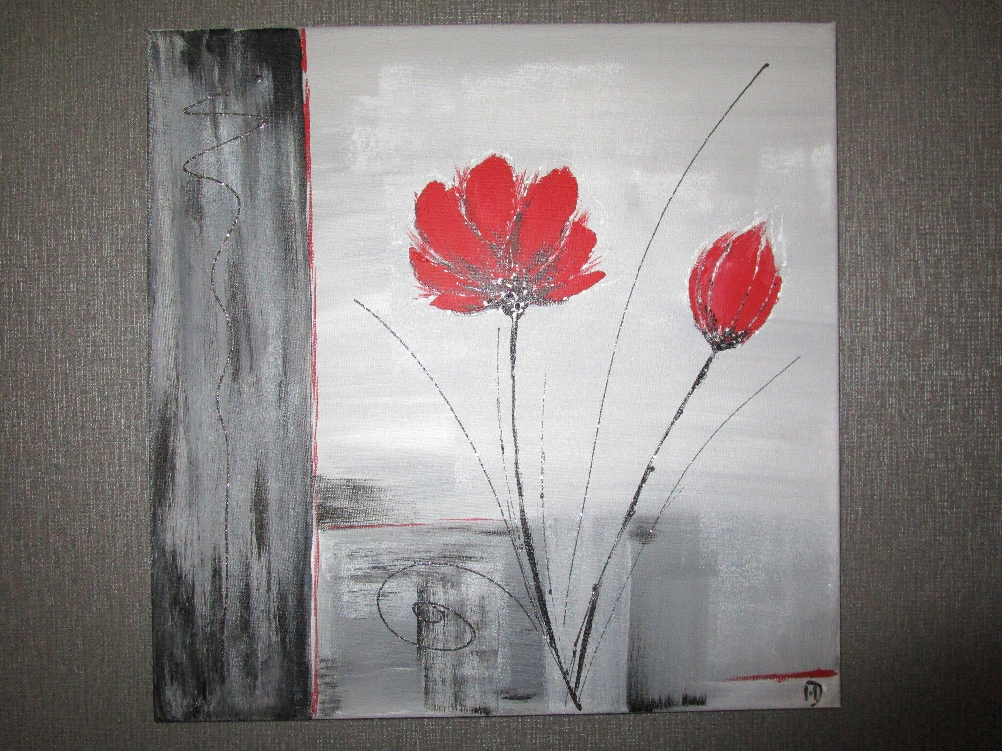 Tableau Moderne Gris Et Rouge La Peinture En Abstrait