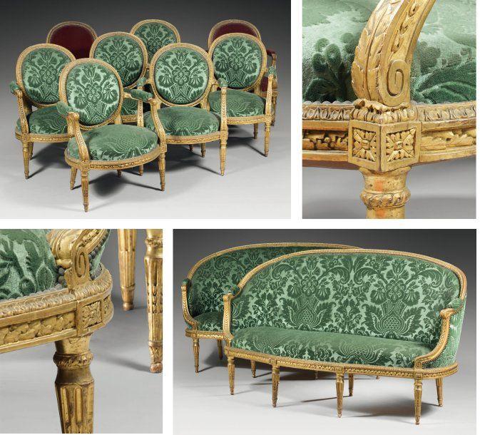 Rare mobilier de salon Attribu  Jean Baptiste Claude Sen Epoque Louis XVI  Eloge de lArt