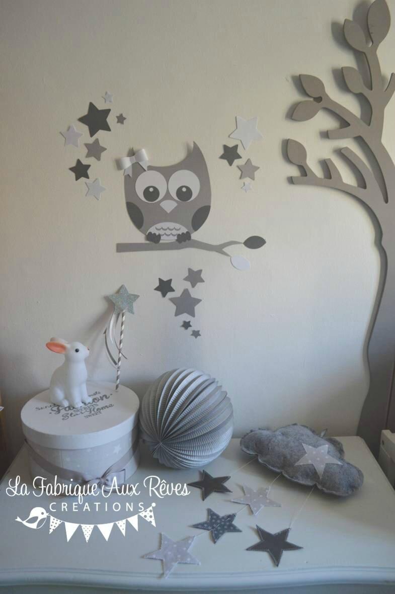 dcoration chambre enfant bb mixte gris fonc blanc gris clair  Photo de 13  stickers hibou