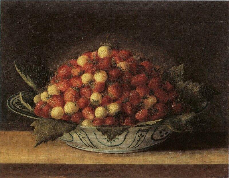Jatte de fraises , hs bois , 21 x 36cm - Musée de l'oeuvre Notre Dame , Strasbourg