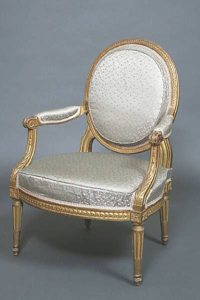 A French Louis XVI 18th century giltwood fauteuil  la