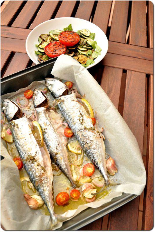Maquereau Grillé Au Four : maquereau, grillé, Maquereaux, Légumes, Grillés, Bergeou