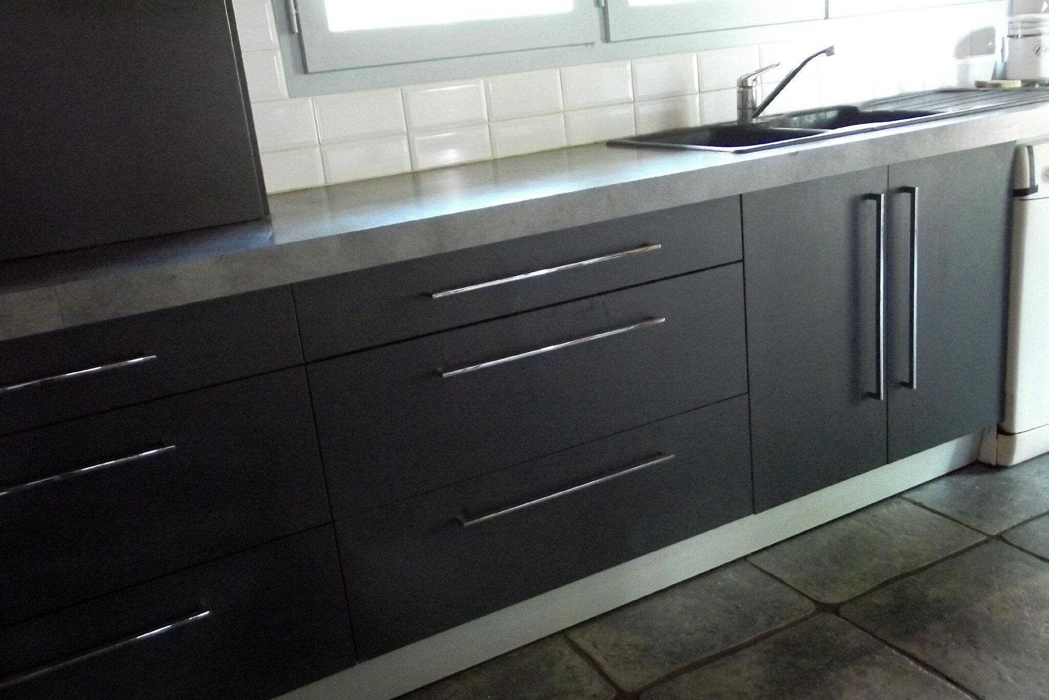 meuble cuisine gris laqué