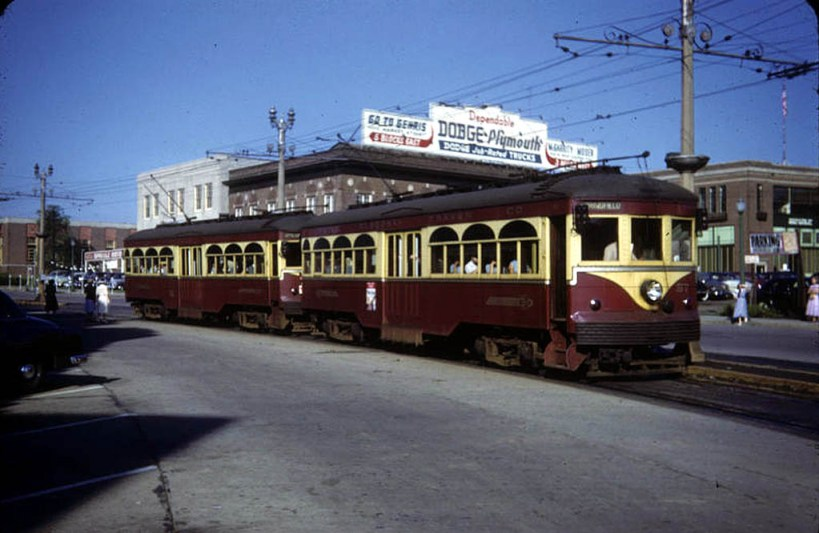 Cars 57 and 76 head outbound in tandem from 69th Street Terminal on Garrett Road in July of 1951.