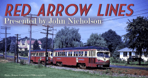 "Image of Red Arrow St. Louis cars 14 and 24 in MU configuration alongside a street on private right of way. Image is superimposed with text ""Red Arrow Lines presented by John Nicholson"""