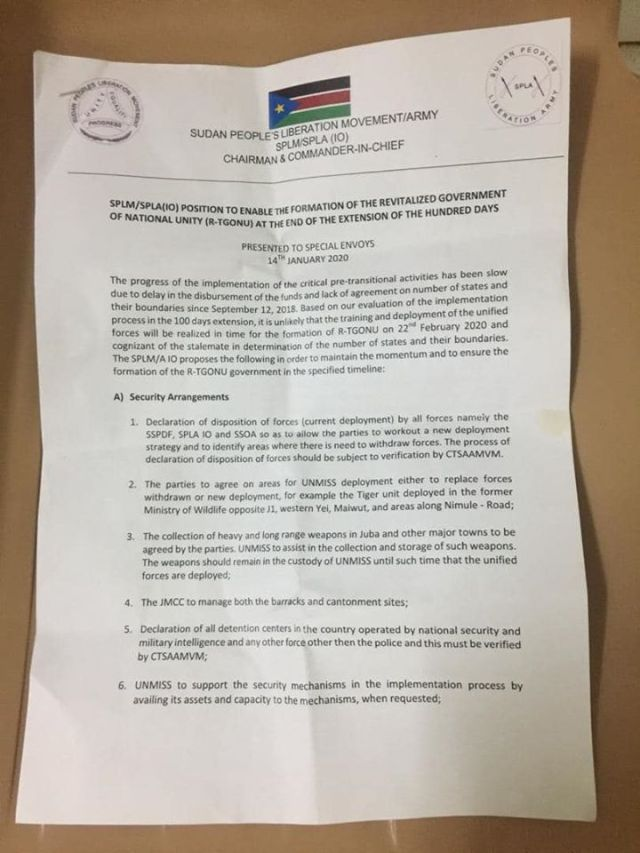 SPLM-IO Preconditions1 for the Formation of the R-TGONU in Feb 2020