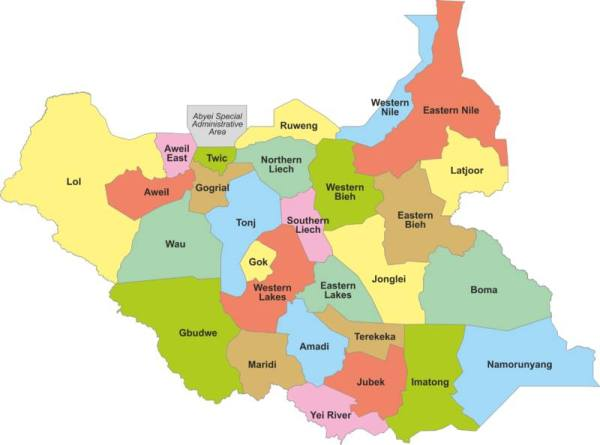 The 32 Federal States of the Republic of South Sudan