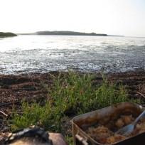 Aftensmaden nydes med udsigt over fjorden.