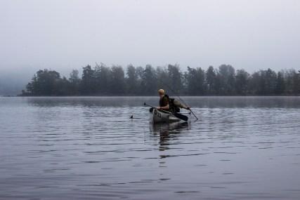Søren dørgede efter kanoen og der gik ikke andet end en times tid før der var bid.
