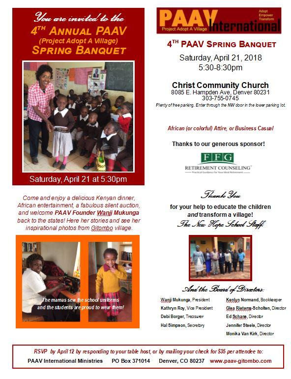 PAAV Spring Banquet 4-21-18 Invitation
