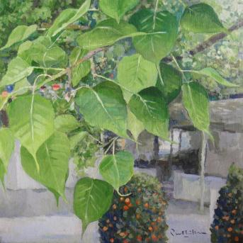 Bodhi tree, bodhi leaves. Sri Lankaramaya Buddhist Temple, Singapore. Painting by Prabhakara Jimmy Quek. Singapore painter, artist.