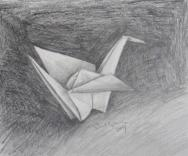 Drawing, still life, paper crane.5C (800x668)
