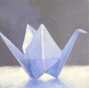 Origami Crane, acrylic on canvas. 6 x 6 inches. By Jimmy Quek Prabhakara.