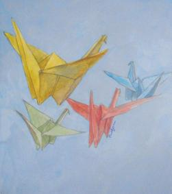Study, composition with paper crane III