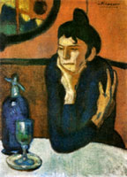 Pablo Picasso blue period, the absinthe drinker