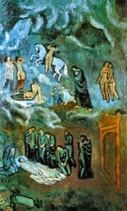 Pablo Picasso blue period - Evocation, the burial of Casagemas