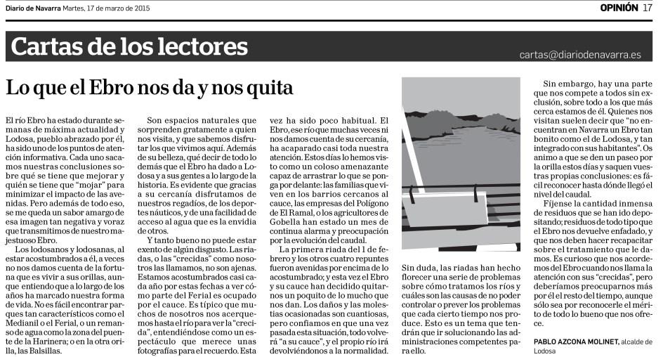 Carta al Director publicada en el Diario de Navarra