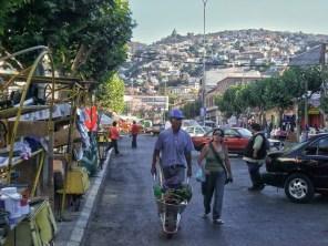 a market street in Valparaiso, Chile