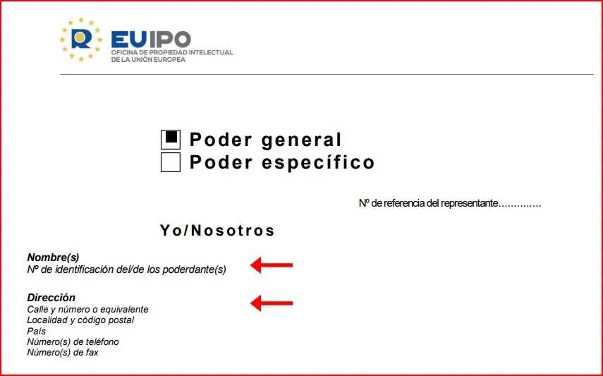 Cómo rellenar poder representacion EUIPO registro marcas europeas 3