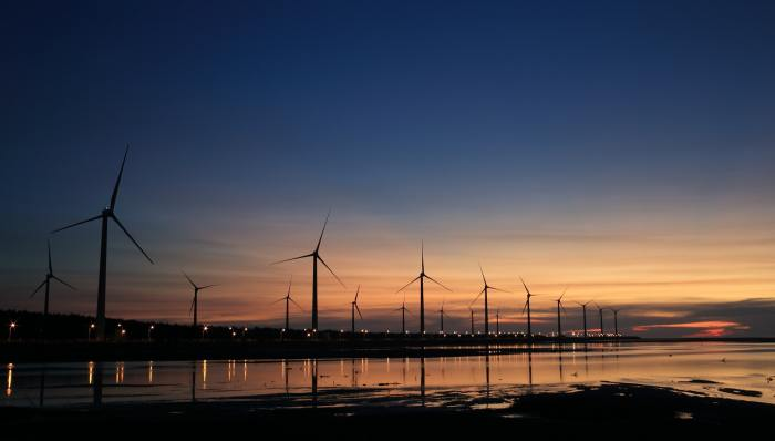Wind turbines at dawn