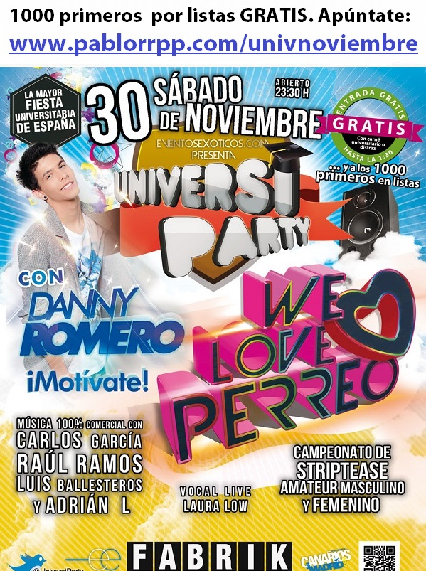 Flyer Universiparty Sábado 30 Noviembre en Fabrik