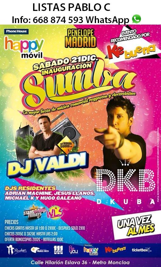 Flyer Inauguración Sumba Party (Fiesta Oficial Emisora Ke Buena) en la Sala Penélope de Madrid.