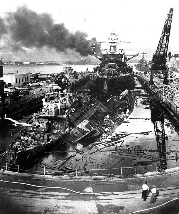 USS Pennsylvania - After the Japanese attack.