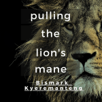 book title over lion on a black background