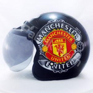 Helm JPN Retro Club Manchester United Hitam Kaca Bogo