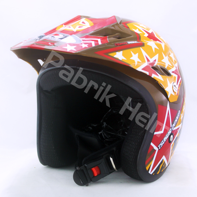 Helm JPN Cross PC18 Motif Star Coklat  PabrikHelmcom