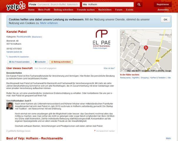 Screenshot der nicht vorhandenen Bewertungen bei Qype, angefertigt am 05.11.2013