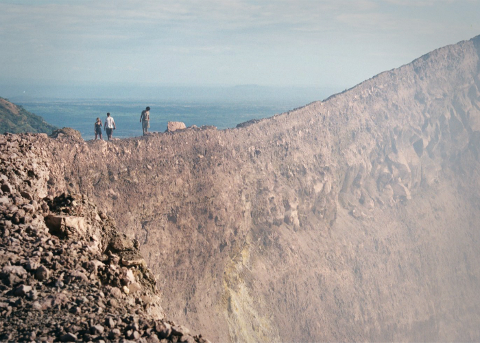 Hiking along Volcán Telica's crater rim