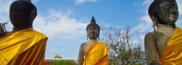Buddha statues at Wat Phra Borommathat, Chaiya