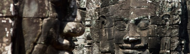 Carved Buddha faces in Angkor Thom