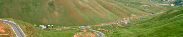 The road leading to the a pass towards Osh