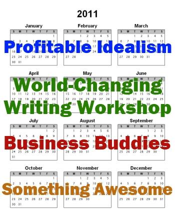 Q1: Profitable Idealism. Q2: World-Changing Writing Workshop. Q3: Business Buddies. Q4: Something Awesome.