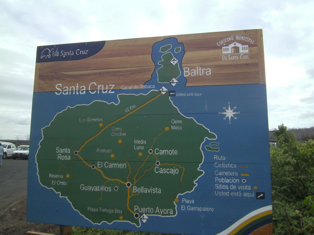 Carte de Santa Cruz et Baltra