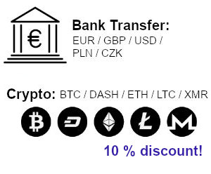 Payments: Bank Transfer, Cryptocurrencies