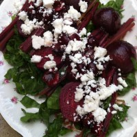 Composed Beet and Spinach Salad with Goat Feta and Bing Cherry Balsamic Honeyed Dressing