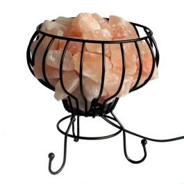 Niska Lampa Solna w Koszyku Metalowym – Różowa
