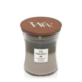 WoodWick COZY CABIN Średnia Świeca Trilogy 275g