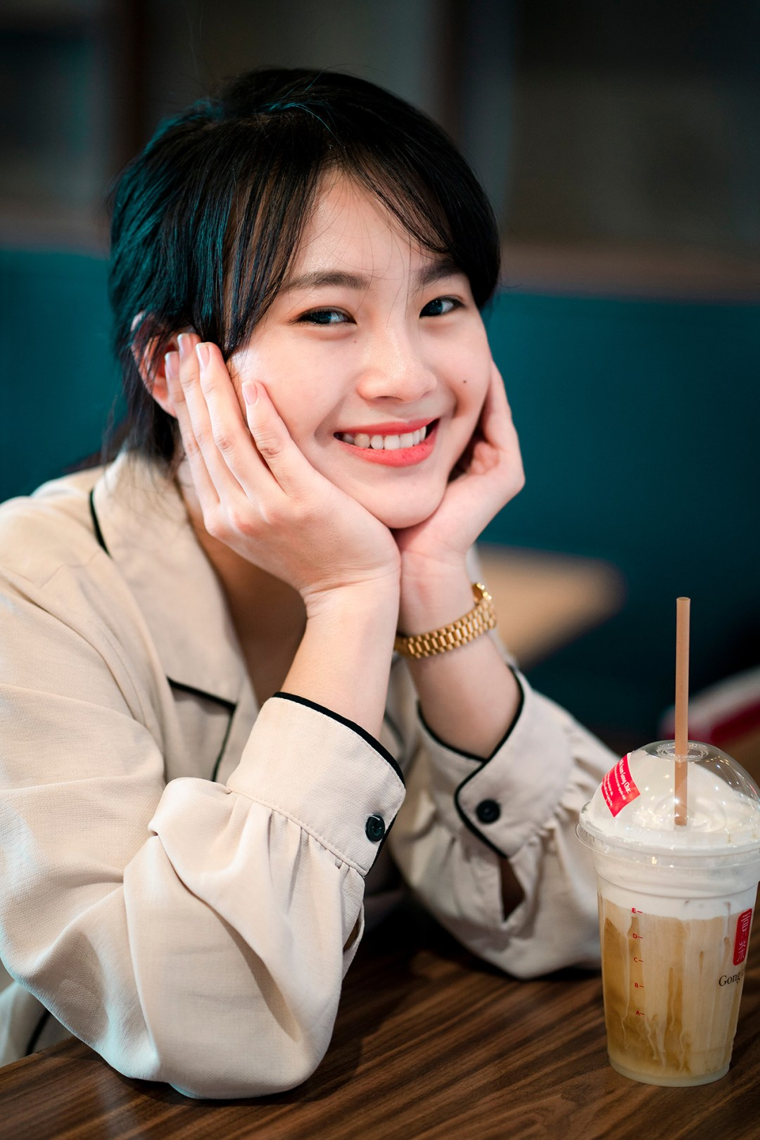 smiling girl with coffee drink