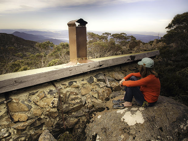 Climb onto the rocks behind Luckmans Hut and there's a great view over the Derwent.