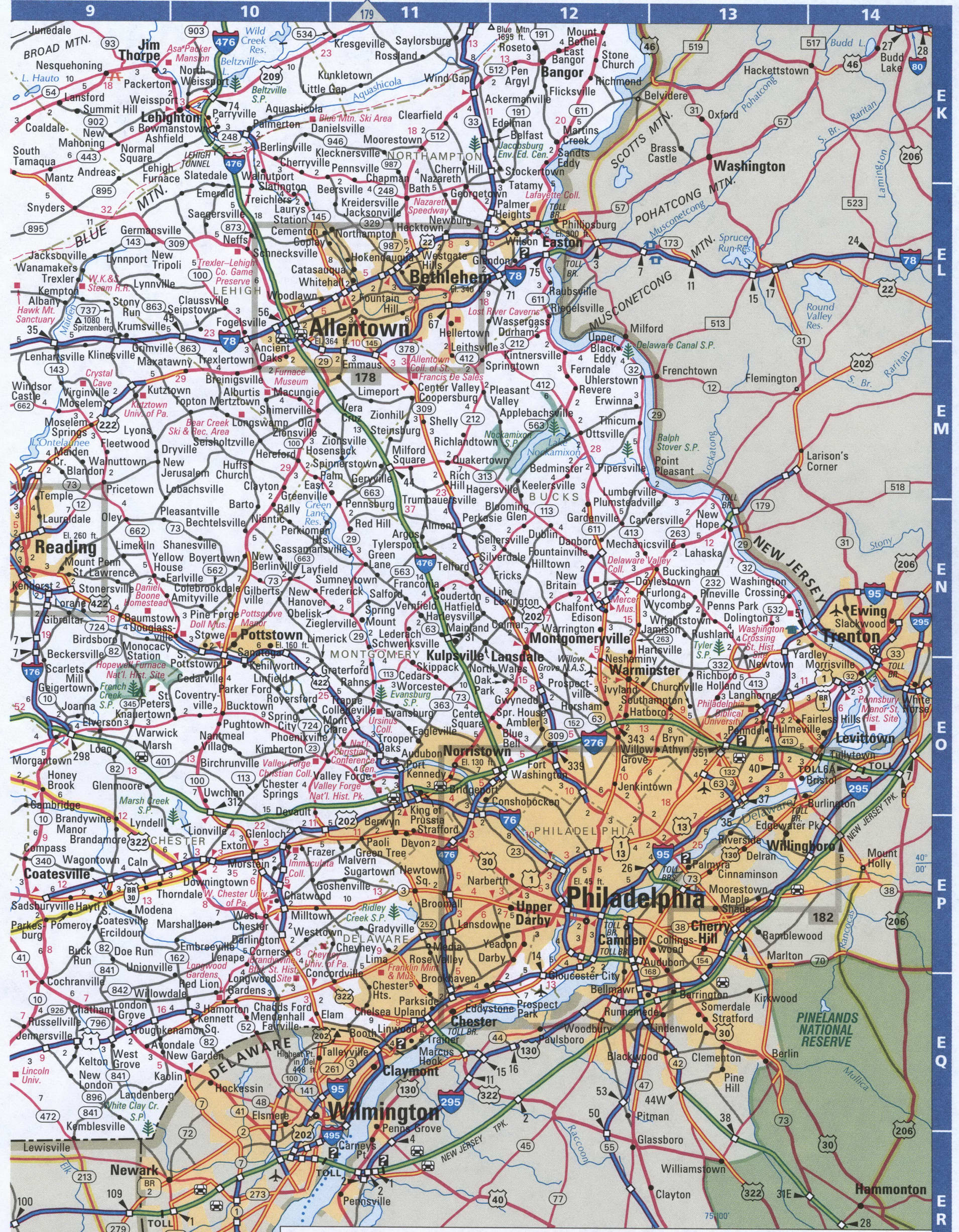 Map Of Pennsylvania Southeastern Free Highway Road Map Pa With Cities Towns Counties Atlas Usa