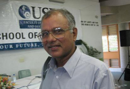 Fiji economist and media critic Professor Wadan Narsey at his former institution, University of the South Pacific. Image: USP