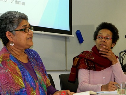 "Speakers Shamima Ali (left) and Asenaca Uluiviti at the ""Fiji: Return to democracy"" seminar. Image: Del Abcede / PMC"