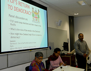 Ali and Uluiviti are joined by Nik Naidu at the 'Return to Democracy' seminar. Image; Del Abcede / PMC