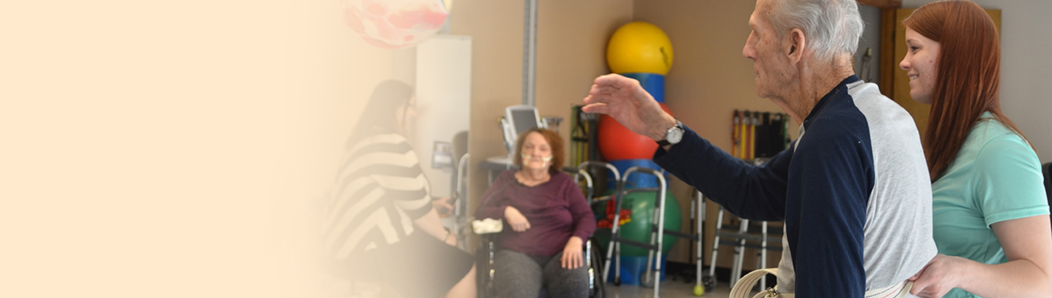 Web Banner. Resident Playing With Balloon For Therapy.