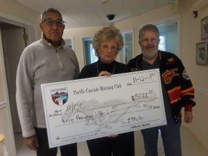 Pacific Cascade Mustang Club donation to Pediatric Interim Care Center