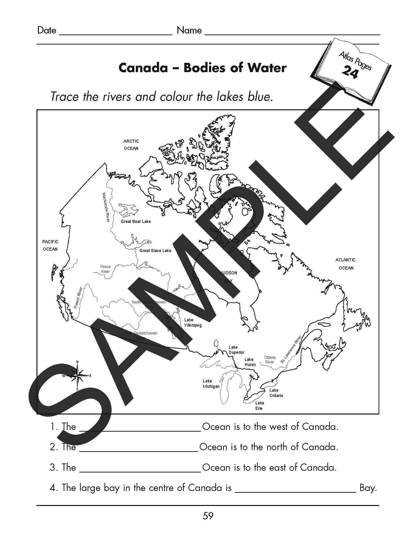 Canada – Bodies of Water Worksheet (PDF) – Publishing + Design [ 2200 x 1700 Pixel ]